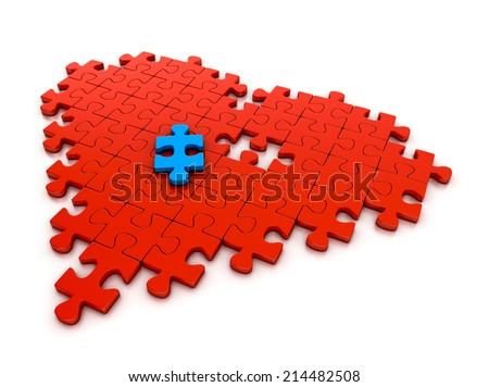 colorful puzzle pieces in heart shape. 3d illustration isolated on white background - stock photo