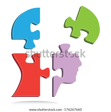 Colorful puzzle shaped head, creative business concept, raster version. - stock photo