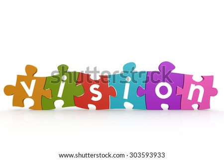 Colorful puzzle with vision word image with hi-res rendered artwork that could be used for any graphic design.