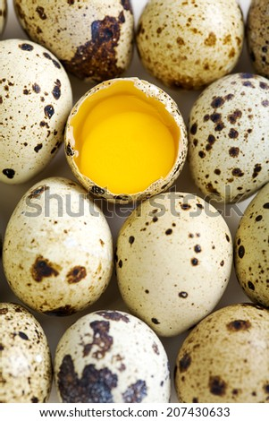 Colorful quail eggs and broken egg with two yolks.