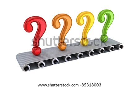 Colorful query signs on grey conveyor. 3d rendered. Isolated on white background.
