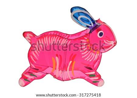 Colorful Rabbit Design Lantern On White Background - stock photo