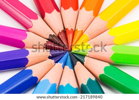 colorful rainbow background with pencils - stock photo