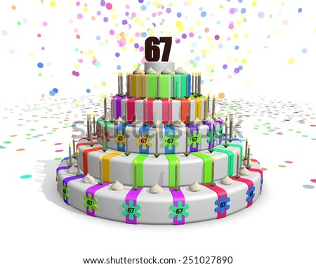 Colorful rainbow cake. Confetti falling down. Decorated with flower candies, candles and cream. On top a chocolate number 67. Ideal for invitations for someones birthday or anniversary - stock photo