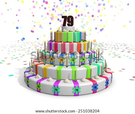 Colorful rainbow cake. Confetti falling down. Decorated with flower candies, candles and cream. On top a chocolate number 79. Ideal for invitations for someones birthday or anniversary - stock photo