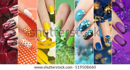 Colorful rainbow collection nail designs summer stock photo colorful rainbow collection of nail designs for summer and winter prinsesfo Image collections