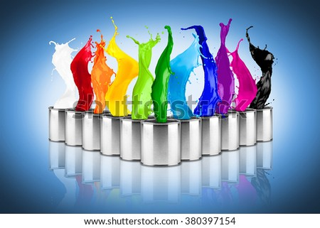 colorful rainbow color dose splash collage on blue background - stock photo