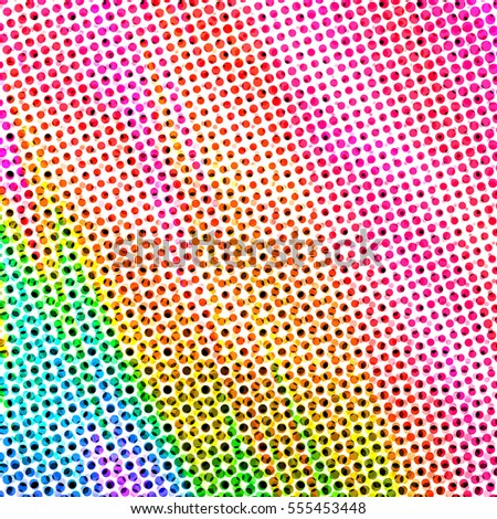 Colorful Rainbow Halftone Dot Pattern Featuring Small Size Spots of Green, Blue, Yellow, Orange, Red, Purple and Pink - High Resolution Illustration, suitable for graphic design or background use.