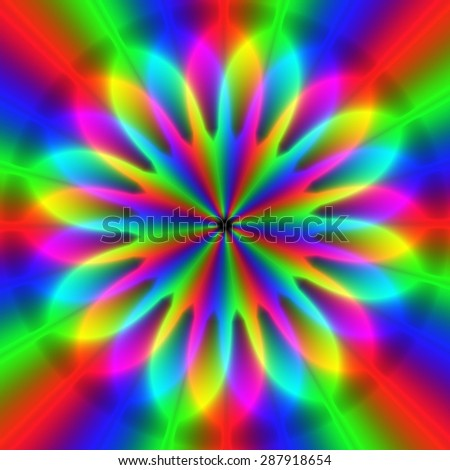 Colorful rainbow rgb blurry rays of lights in star pattern  - stock photo