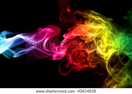 Colorful Rainbow Smoke isolated over black background