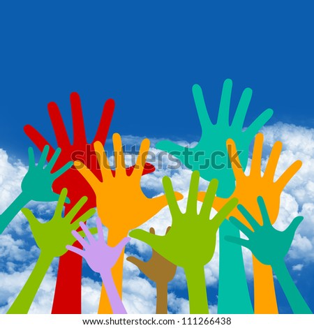 Colorful Raised Hands in Blue Sky Background For Volunteer and Voting Concept - stock photo