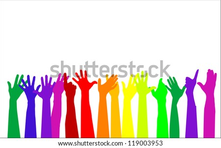 Colorful raising hands isolated on white,  vector
