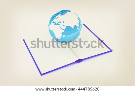 colorful real books and Earth. 3D illustration. Vintage style. - stock photo