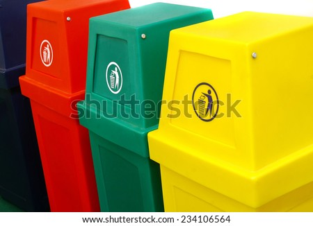 colorful recycle bin - stock photo