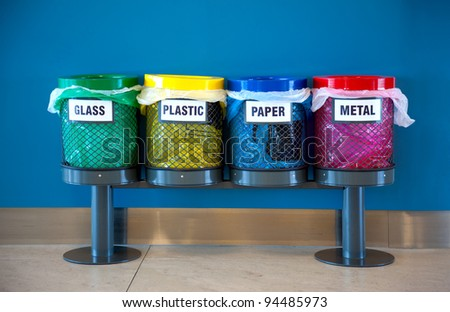 Colorful Recycle Bins In A Public Place