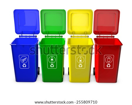 Colorful recycle bins isolated on white background - stock photo