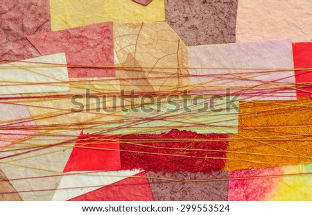 Colorful recycle paper pieces patch created for the background, wall paper, present wrapper. - stock photo