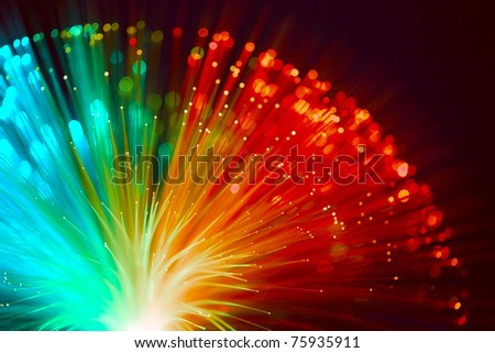 Colorful red and blue fireworks - stock photo