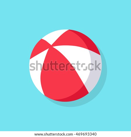 Colorful red and white beach ball icon isolated on blue background.  illustration