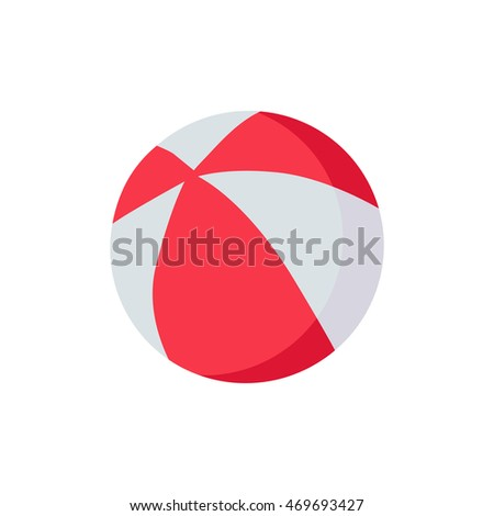 Colorful red and white beach ball icon isolated on white background.  illustration