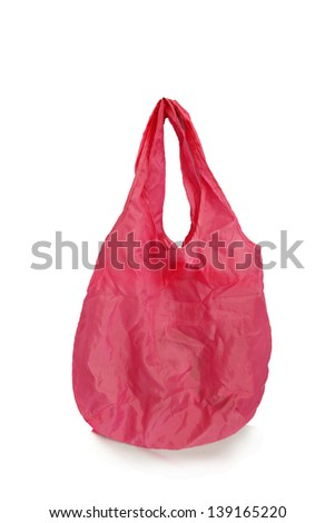 Colorful red cotton bag - stock photo