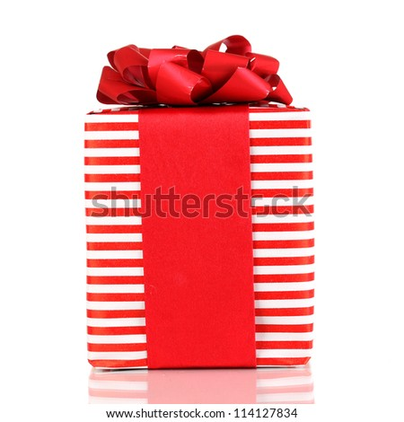Colorful red gift with bow isolated on white - stock photo