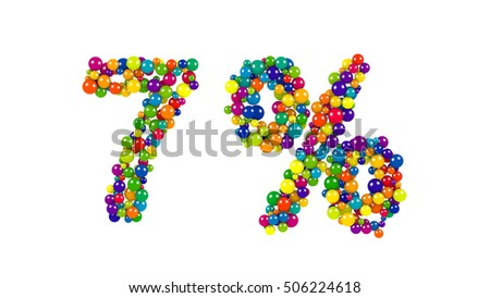 Colorful red, orange, yellow, blue and green spheres in the shape of seven percent over isolated white background
