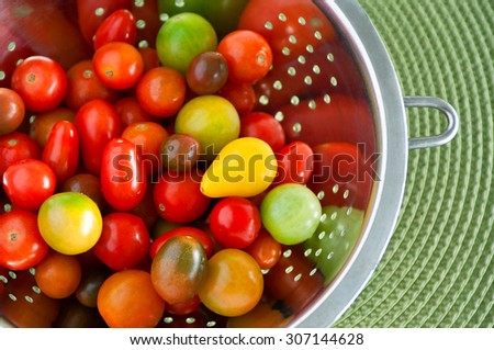 Colorful red yellow and green cherry tomatoes washed in a stainless colander, on round green mat background, copy space - stock photo