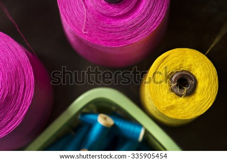 Colorful reels of threads - stock photo