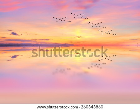 colorful reflections in the lake water - stock photo