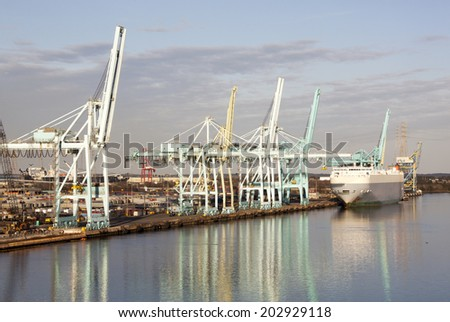 Colorful reflections of Jacksonville city port (Florida). - stock photo