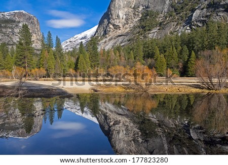 colorful reflections on a calm winter afternoon at mirror lake,yosemite valley,california,winter 2014 - stock photo