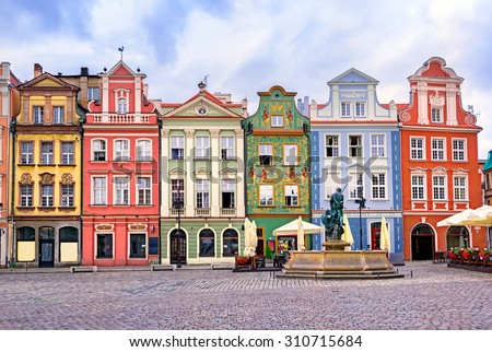 Colorful renaissance facades on the central market square in Poznan, Poland - stock photo