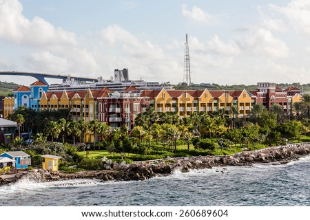 Colorful Resort on Coast of Curacao - stock photo