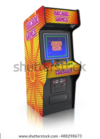 Colorful retro arcade game machine with abstract design - 3d illustration