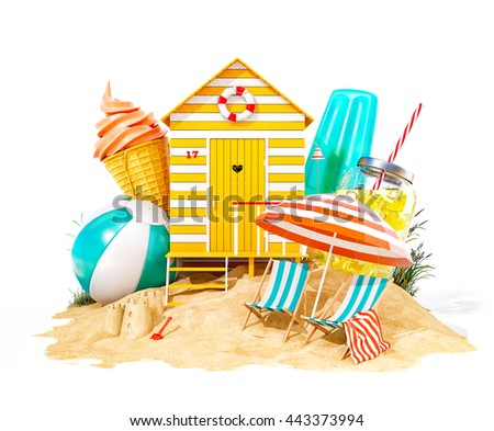 Colorful retro beach hut , lemonade, deck chairs and ice cream on a beach. Unusual summer 3D illustration. Isolated at white background - stock photo