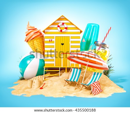 Colorful retro beach hut , lemonade, deck chairs and ice cream on a summer beach. Unusual summer 3D illustration. Travel and vacation concept. - stock photo