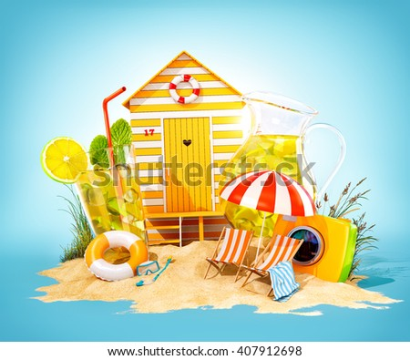 Colorful retro beach hut , lemonade, deck chairs on a beach. Unusual summer 3D illustration - stock photo