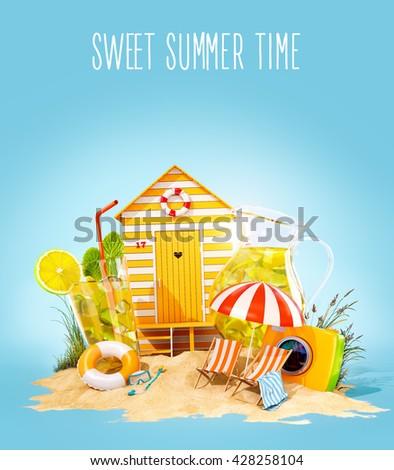 Colorful retro beach hut , lemonade, deck chairs on a beach. Unusual summer 3D illustration - stock photo