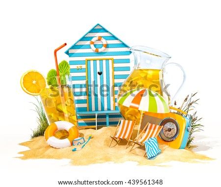 Colorful retro beach hut , lemonade, deck chairs on a summer beach. Unusual summer 3D illustration. Isolated at white background. Summer concept illustration