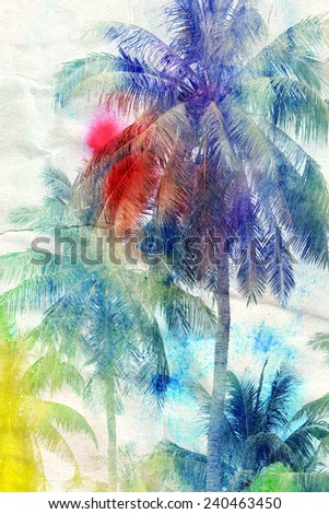 colorful retro colorful watercolor silhouettes of palm trees - stock photo