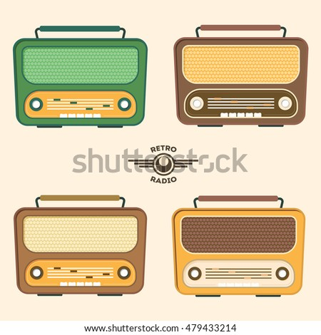 Colorful Retro Radio Set. Flat Design. illustration