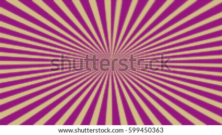 Colorful retro rays comic background, raster gradient halftone pop art style.