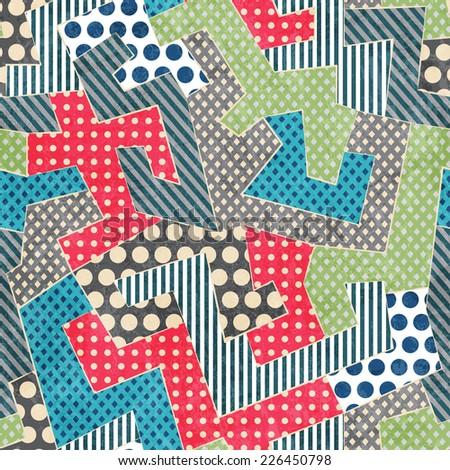 colorful retro textile seamless pattern (raster version) - stock photo