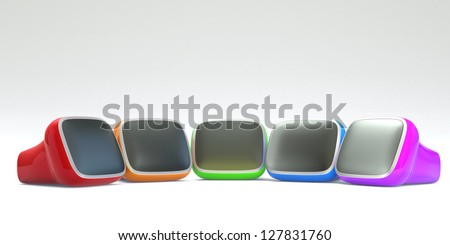colorful retro TV arranged in curve - stock photo