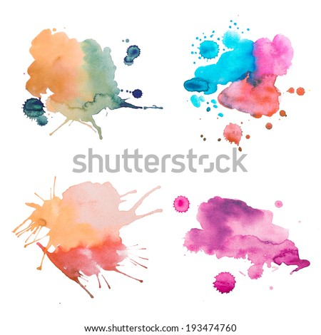 colorful retro vintage abstract watercolour / aquarelle art hand paint on white background - stock photo