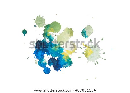colorful retro vintage abstract watercolour aquarelle art hand paint on white background - stock photo