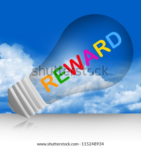 Colorful Reward Text Inside The Light Bulb For Business Concept in Blue Sky Background - stock photo