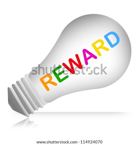 Colorful Reward Text Inside The Light Bulb For Business Concept Isolated on White Background - stock photo
