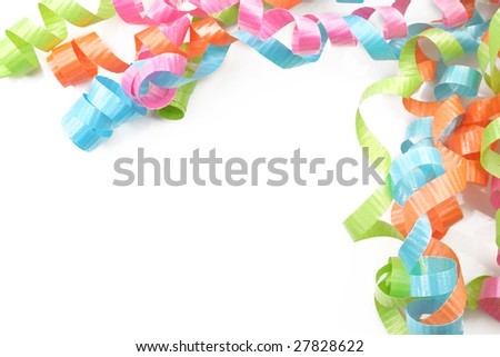 Colorful ribbon curls on a white background as a boarder.  Room for text. - stock photo